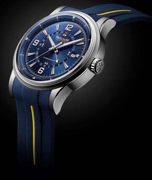 Brellum Wyvern GMT Chronometer watch with blue dial