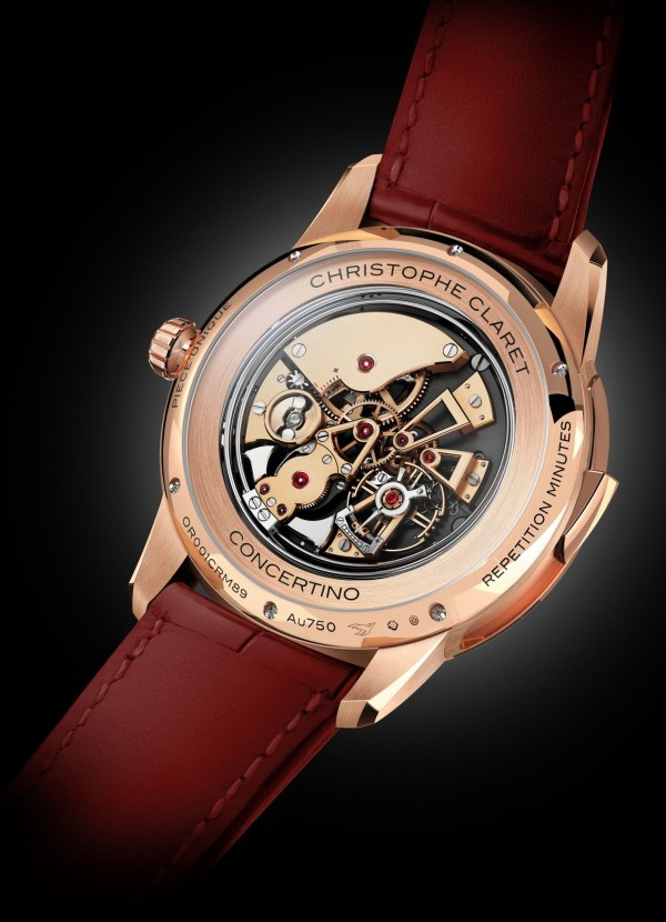 Christophe Claret Concertino red gold watch case back view