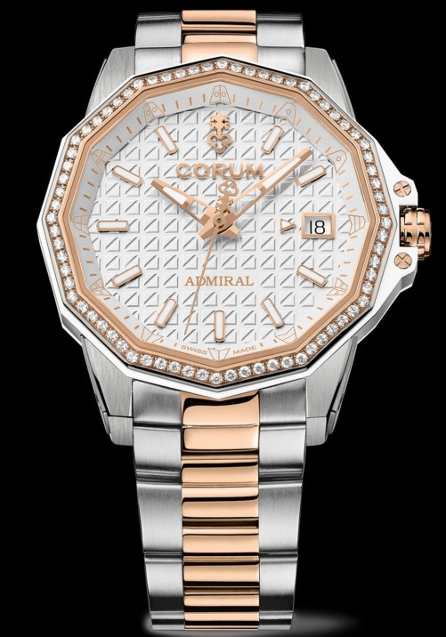 Corum Admiral 38 Automatic New Model with titanium and rose gold case and bracelet white dial diamond-set bezel