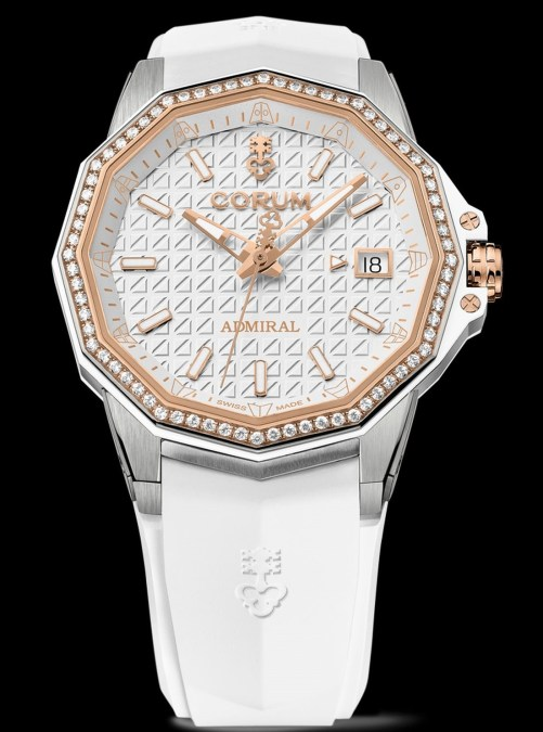Corum Admiral 38 Automatic New Model with titanium case, white dial, rose gold crown and bezel, white rubber strap