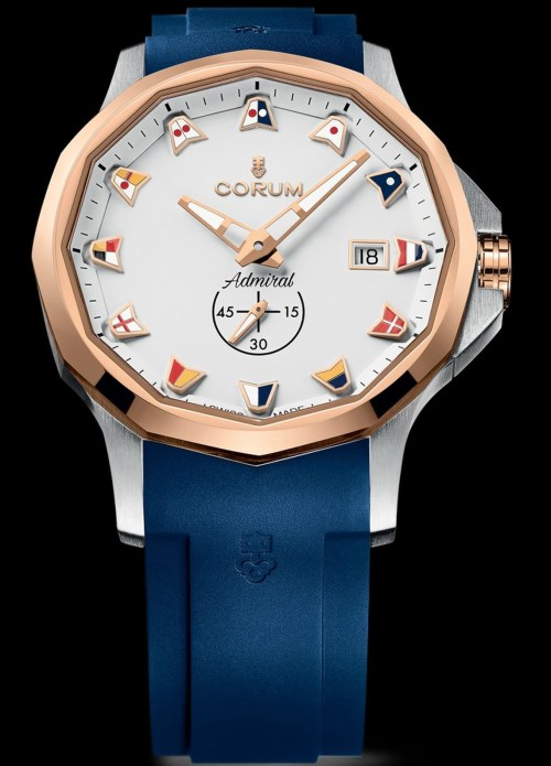Corum Admiral 42 Automatic New Model with stainless steel and 5N 18k rose gold case and blue rubber strap