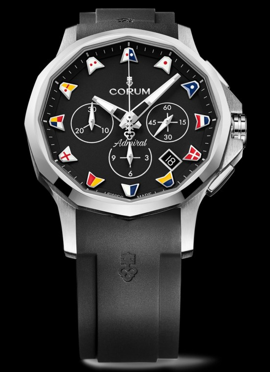 Corum Admiral 42 Chronograph New Models 2021 with black dial and rubber strap