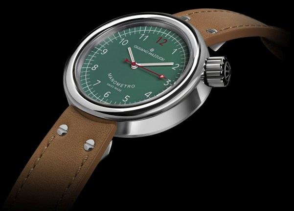 Giuliano Mazzuoli Manometro Compressed watch with polished stainless steel case and green dial