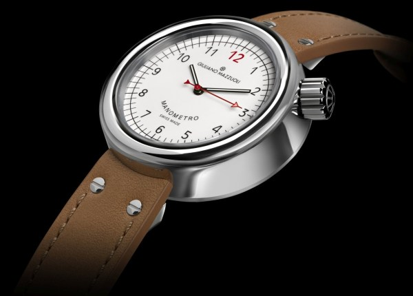 Giuliano Mazzuoli Manometro watch with polished stainless steel case and white dial