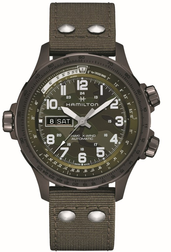 Hamilton Khaki Aviation X-Wind Day Date Automatic with brown PVD stainless steel case and Green camouflage dial