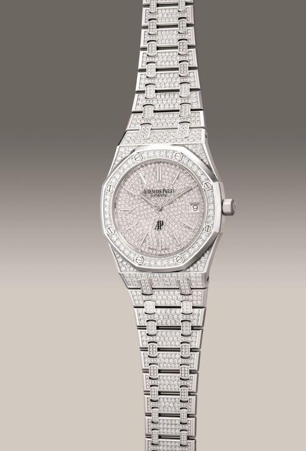 Audemars Piguet Ref. 15202BC.ZZ.1241BC.01 white gold and pavé diamond-set wristwatch
