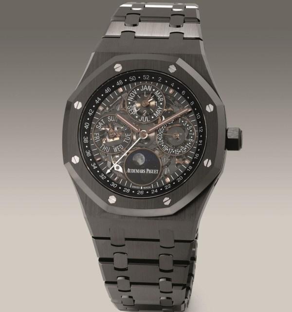 Audemars Piguet Ref. 26585CE.OO.1225CE.01 black ceramic skeletonized perpetual calendar wristwatch with moon phases