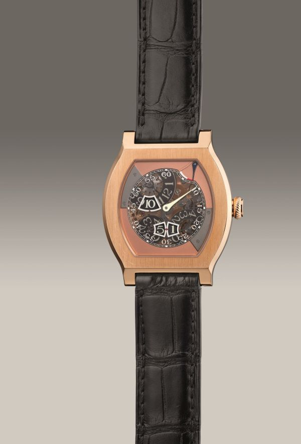 F.P. Journe Vagabondage III, limited edition semi-skeletonized pink gold tortue-shaped wristwatch with digital jump hours and seconds, power reserve indication