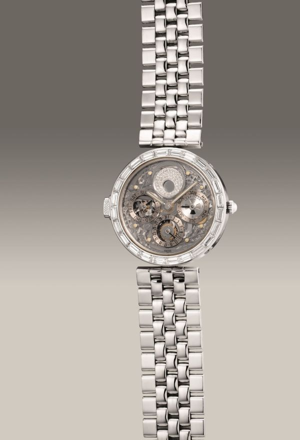 Gérald Genta Ref. G40114, platinum and diamond-set skeletonized minute repeating perpetual calendar wristwatch with leap year indication, moon phases