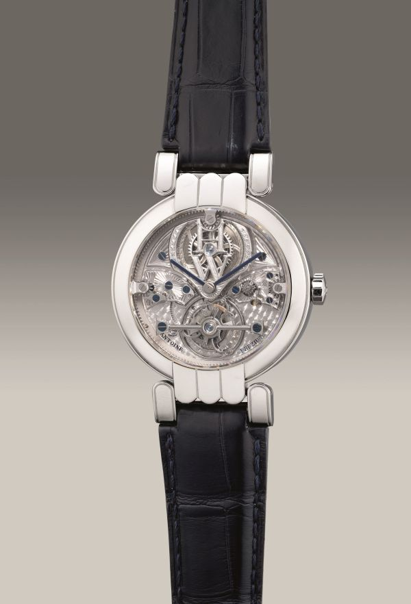 Harry Winston Ref. 200MTQPAP38, limited edition platinum semi-skeletonized perpetual calendar tourbillon with leap year indication, retrograde day and date indication