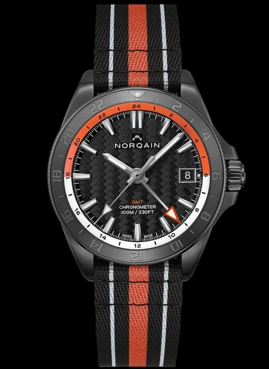 NORQAIN ADVENTURE NEVEREST GMT black dlc watch with nato strap