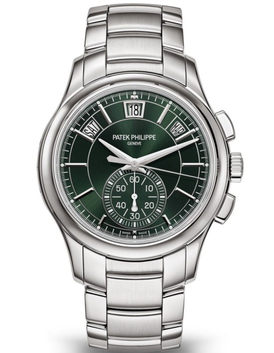 Patek Philippe Self-winding Flyback Chronograph with Annual Calendar, Reference 5905/1A-001 (in steel with an integrated bracelet and a sunburst green dial)
