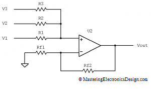 circuit diagram of non inverting amplifier yamaha g1 golf cart solenoid wiring the transfer function summing with n 2