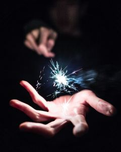 sparkler with hand