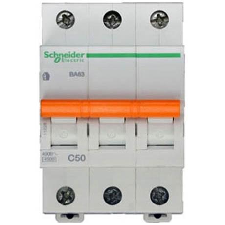 Автоматический выключатель Schneider Electric Домовой 3P 50А (C) 4.5кА