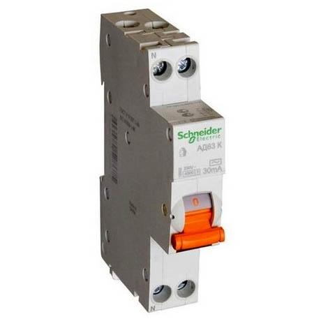 Дифавтомат Schneider Electric Домовой 2P 10А (C) 4.5кА 30мА (AC)