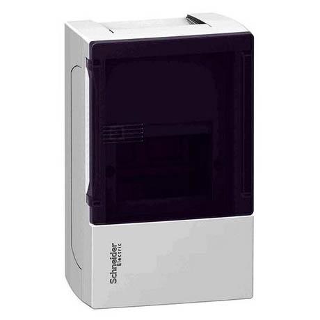 Распределительный шкаф Schneider Electric MINI PRAGMA, 4 мод., IP40, навесной, пластик, дымчатая дверь, с клеммами
