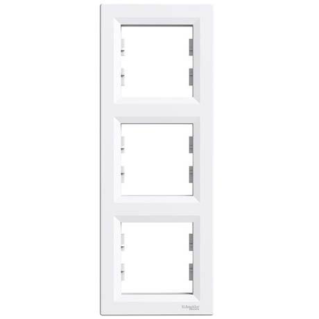 Рамка Schneider-Electric Asfora 3-постова вертикальна біла