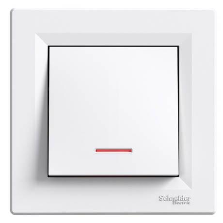 Кнопка Schneider-Electric Asfora з підсвічуванням білий