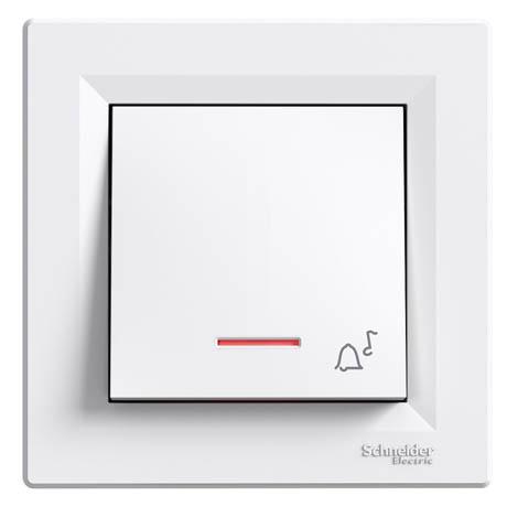 """Кнопка Schneider-Electric Asfora """"звонок"""" с подсветкой белый"""