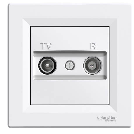 Розетка Schneider-Electric Asfora TV/R проходная (4 дБ) белая