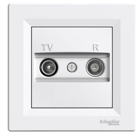 Розетка Schneider-Electric Asfora TV/R проходная (8 дБ) белая