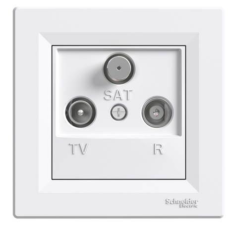 Розетка Schneider-Electric Asfora TV-R-SAT проходная (8 дБ) белая