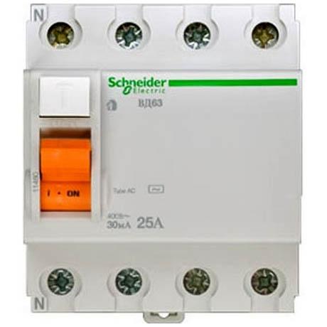 УЗО Schneider Electric Домовой 4P 25А 30мА (AC)