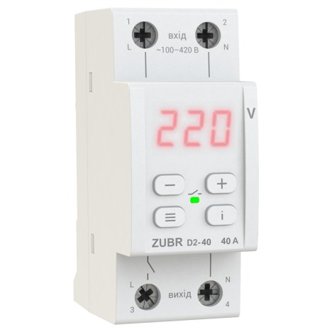 Реле контролю напруги DS Electronics ZUBR D2-63A з термозахистом (red)