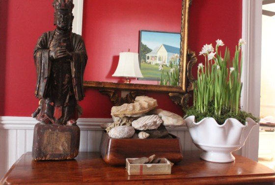 This year I am growing my paperwhites in a lovely fluted bowl.  I cover the soil with sphagnum moss.