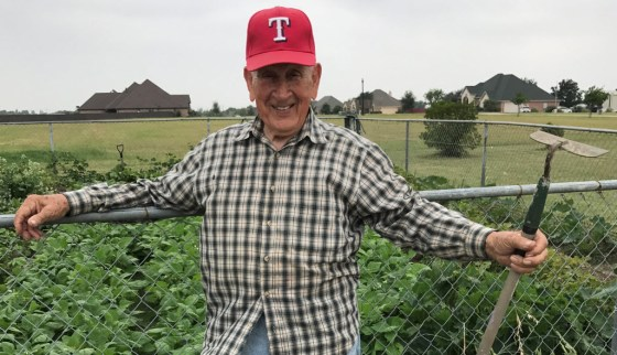 John Boswell is an organic gardener from Waxahachie. He has been growing vegetables for just about all of his 92 years