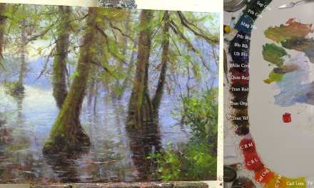 9 Steps to Paint Cypress Trees with Water Reflection