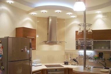 дизайн потолка кухни 16