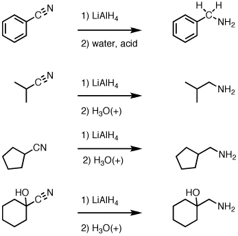 Reduction of nitriles to primary amines with LiAlH4