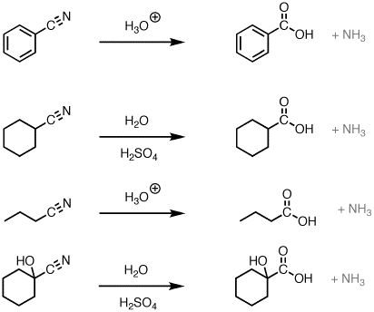 Hydrolysis of nitriles with aqueous acid to give
