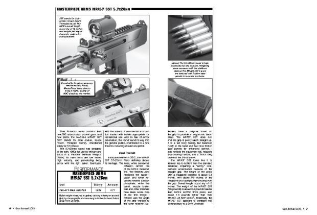 Magazine article about the MasterPiece Arms MPA57 SST