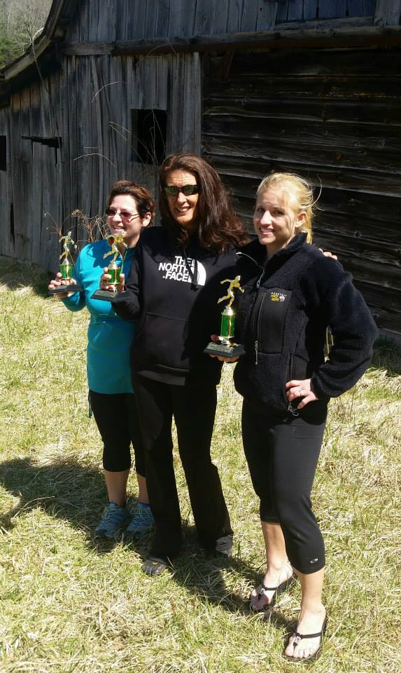Overall female winners with trophies.