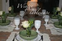Winter greens tablescape