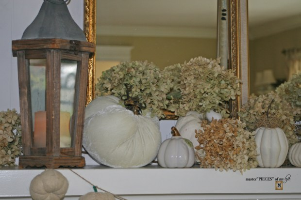 White pumpkin mantel 7