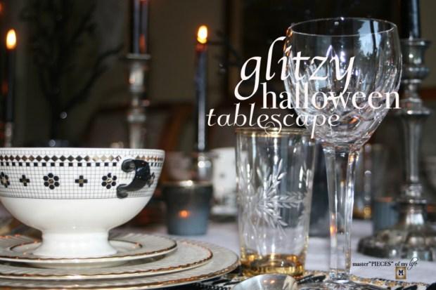 Glitzy halloween tablescape