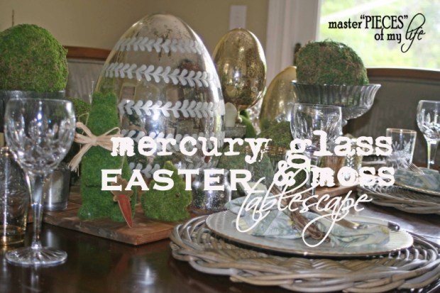 Mercury glass moss easter tablescape