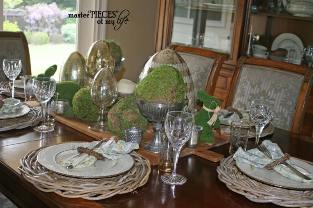 Mercury glass moss easter tablescape1