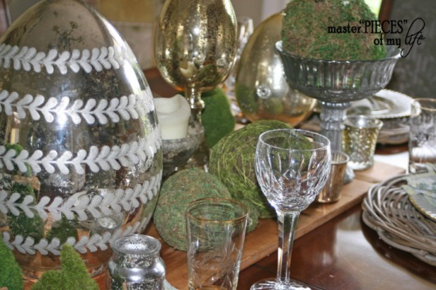 Mercury glass moss easter tablescape3