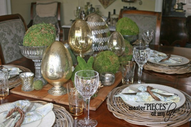 Mercury glass moss easter tablescape4