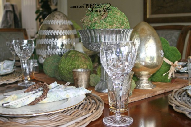 Mercury glass moss easter tablescape5