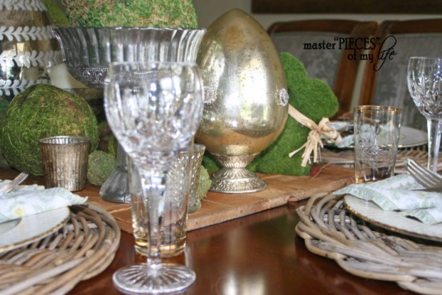 Mercury glass moss easter tablescape10