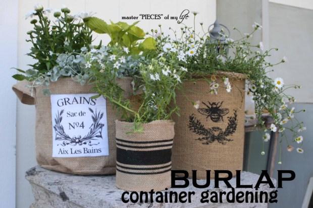 Burlap container gardening 1