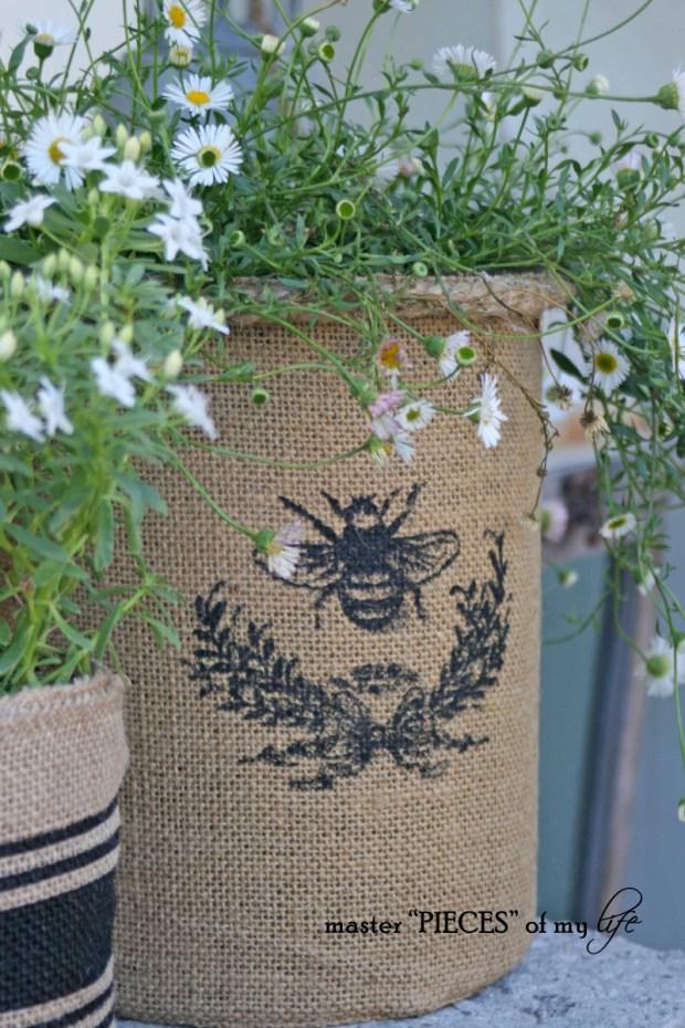 Burlap container gardening 6