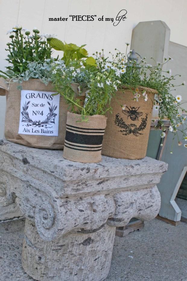 Burlap container gardening 11