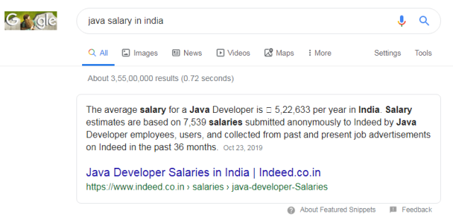 java salary in india